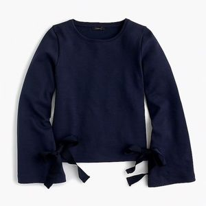 J. Crew Navy Blue Tie-sleeve Sweater Size XS